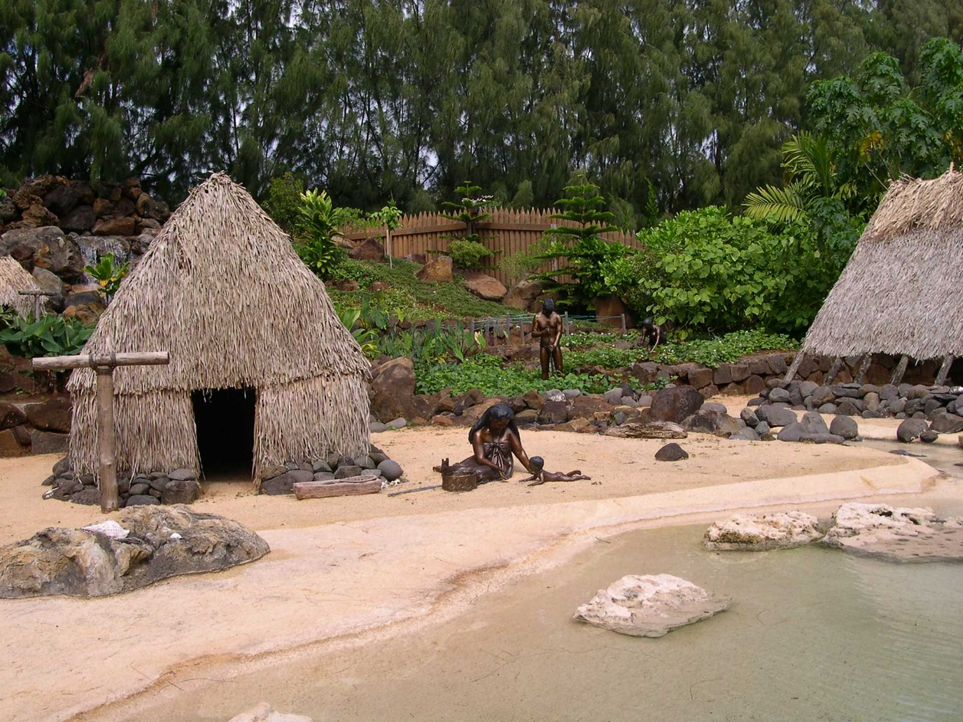 Half sized historical village in Na'Aina Kai botanical